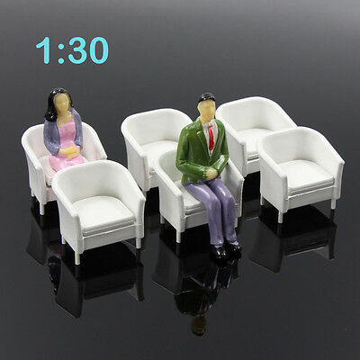 6pcs Model Train Railway Leisure Chair Settee Bench Scenery Layout 1:30 G Scale