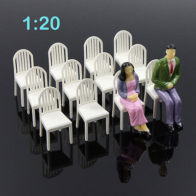ZY18020 12pc Model Train Railway Leisure Chair Settee Bench Scenery 1:20 G Scale