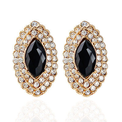 Trendy Marquise Round Cubic Zircon Gold Plated Lady Girl Stud Earrings Jewelry