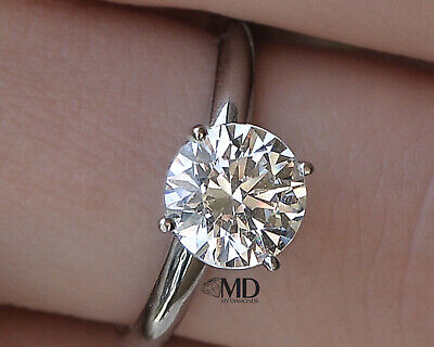 1.25 CT Natural Round Cut Diamond Engagement Ring Enhanced 18K White Gold D/SI1