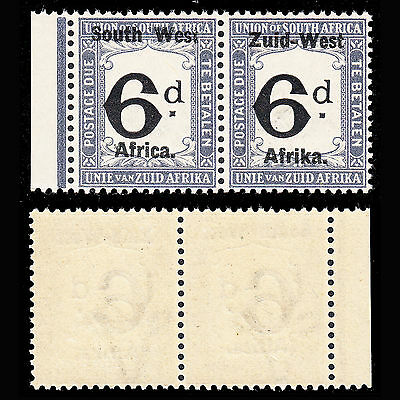 South West Africa Postage Due 1923 6d pair fine MNH SG D5 CV £50 as MH (b)