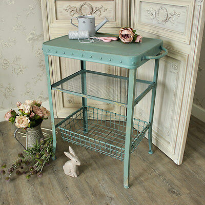Metal blue painted table basket shelves storage shabby vintage chic kitchen home