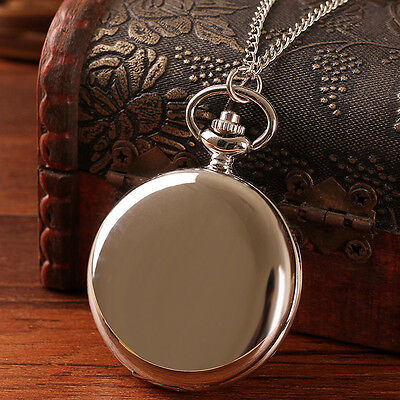 Vintage Antique Steampunk Quartz Necklace Pendant Pocket Watch Black Silver Gift