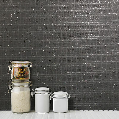 Mosaic Tile Glitter Vinyl Wallpaper Kitchen Bathroom Grey Black Crown