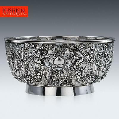 ANTIQUE 19thC RARE CHINESE EXPORT SOLID SILVER WANG HING DRAGON BOWL c.1890