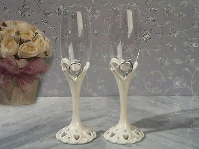 Pair of Polyresin Toasting Wedding Party Wine Champagne Flutes Glasses