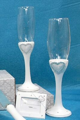 Pair of Diamante Heart Toasting Wedding Party Wine Champagne Flutes Glasses