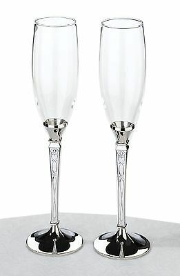 Pair of Retro Toasting Wedding Party Wine Champagne Flutes Glasses