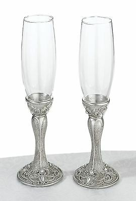 Pair of Jewelled Toasting Wedding Party Wine Champagne Flutes Glasses