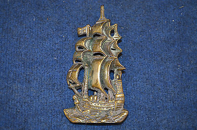 Lovely Very Rare Vintage Large Brass Sailing Ship Door Knocker RDL5758
