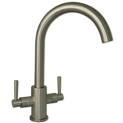 Erise Brushed Steel Twin Handle Swivel Spout Kitchen Sink Mixer Tap