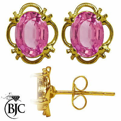 BJC® 9ct Yellow Gold Natural Pink Topaz Single Stud Earrings Studs 1.50ct