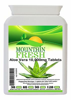 Aloe Vera 10,000mg Max Strength Pure Tablets 120 Pack FREE UK Delivery