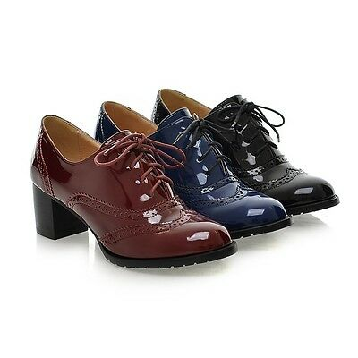 Womens Retro Brogue Oxfords Punk Roma New Cuban Heel Vintage Pumps Shoes Plus Sz