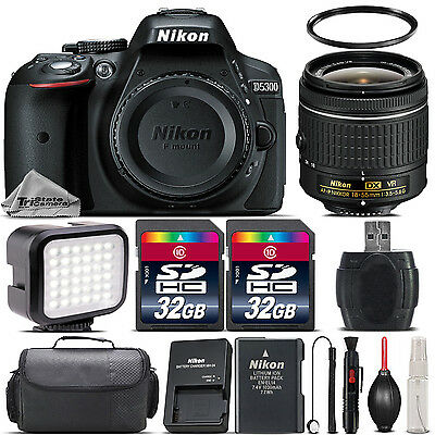 Nikon D5300 Digital SLR Camera + AF-P 18-55mm VR Lens + LED + Case - 64GB Kit