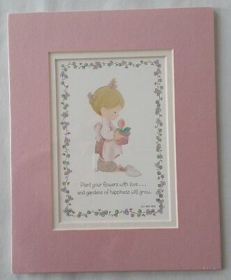 1997 Hallmark Precious Moments Sam B Girl with Tulip Matted Print