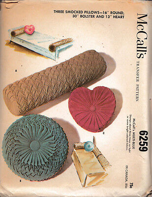 Vintage 1962 McCall's Smocked Pillows Sewing Pattern #6259