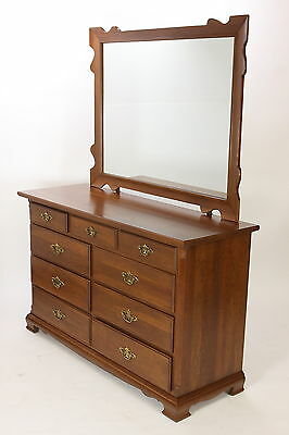 Tell City Potomac Solid Cherry Dresser With Mirror 9 Drawers Vintage 1960 MCM