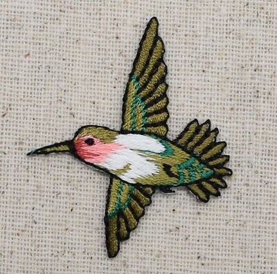 Iron On Embroidered Applique Patch Small Red Throat Hummingbird Bird LEFT