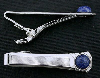 One - 1 3/4 Inch Tapered Natural Lapis Lazuli Silver Color Tie Clip Tie Bar