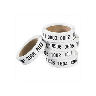 """""""Consecutive Numbered Labels, """"""""(0001-0500)"""""""", 1"""""""" x 1 1/2"""""""", 500/Roll"""""""