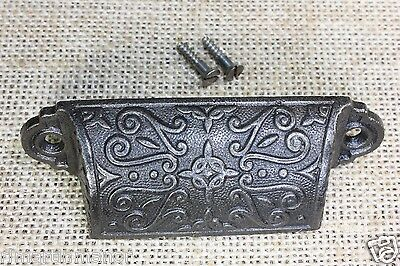 "old Bin Drawer Pull cup handle flower fern leaves 3 5/8"" cast iron restored"