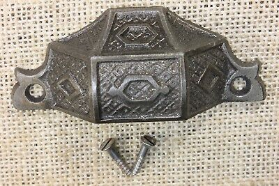 "old Bin Drawer Pull cup handle 3 3/8"" vintage screws rustic restored vintage"