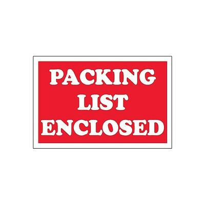 """""""Tape Logic Labels, """"""""Packing List Enclosed"""""""", 2""""""""x3"""""""", Red, 500/Roll, DL1207"""""""