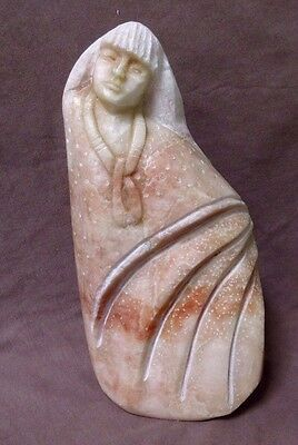Native American Navajo Alabaster Native Woman Sculpture by Ronald Gleison C1148