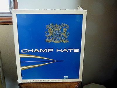 CHAMP HATS - 1950s VINTAGE SQUARE HAT BOX AND LID - BOX ONLY NO HAT - USA MADE