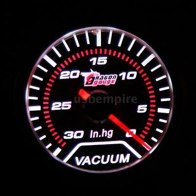 "Car Motor Universal 2"" 52mm Vacuum Gauge With PVC Hose 30-0 IN/HG White LED X3Q7"
