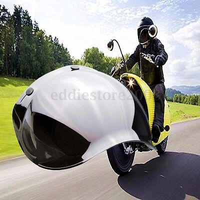 MIRRORED Bubble Motorcycle Helmet Visor Flip Up Wind Face Shield Lens With Stand