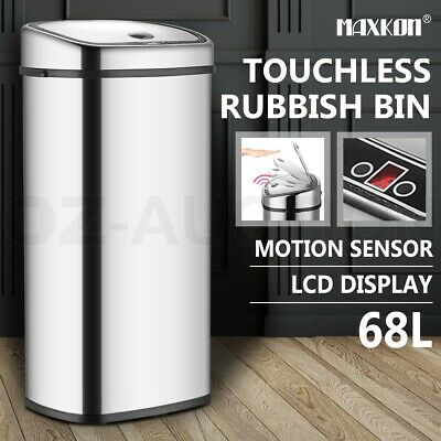 68L Stainless Steel Automatic Infrared Motion Sensor Rubbish Bin Kitchen Office