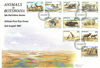 Botswana Fdc 1987 Animals Set (Cat £50 Off Cover.) Sg619-638