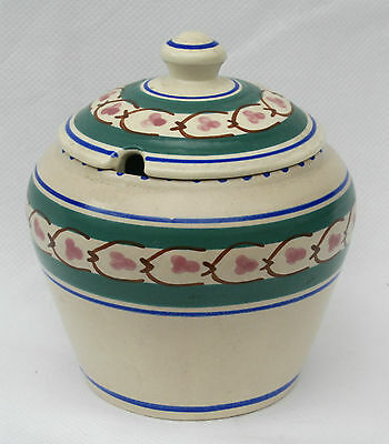 "Vintage Large Honiton Pottery Lidded Jam ,Marmalade or Preserve Jar Pot 4"" high"