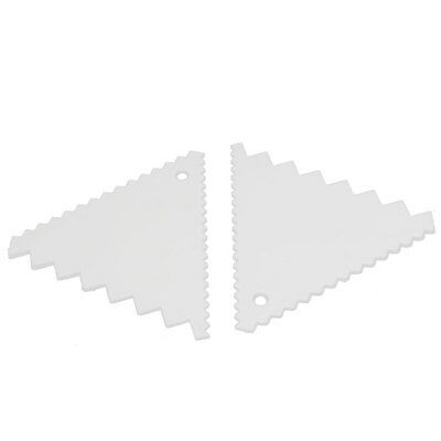 Kitchen Baking Plastic Triangle Serrated Edge Dough Pasty Cake Scraper 2pcs