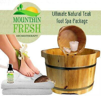 XL Ultimate Luxury Natural Cedar Wood Foot Spa And Massager Package FREE UK Post