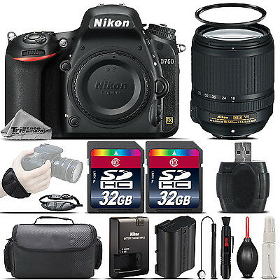 Nikon D750 DSLR 24.3MP WiFI FX Camera + 18-140mm VR II Lens + Case - 64GB Kit