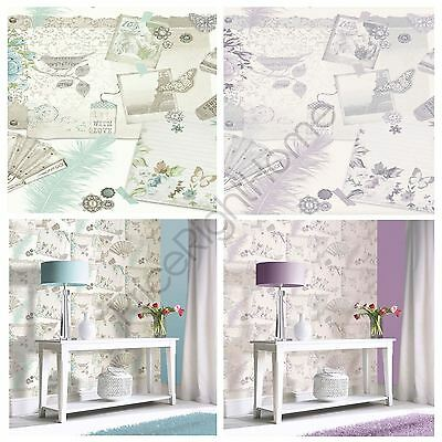 Arthouse Ava Floral Wallpaper - Available In Teal & Lilac - Feature Wall Decor
