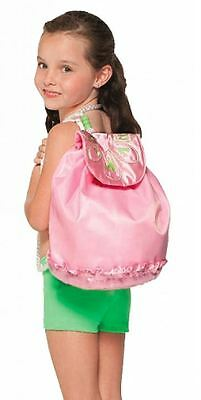 NWT Capezio Dance Drawstring Backpack Pink Satin Flap Embroidered Daisy B116C