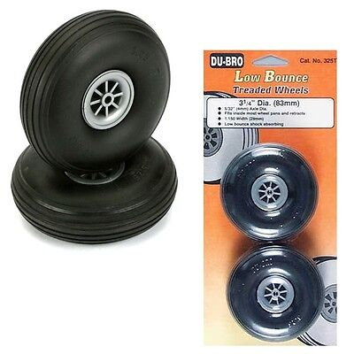"DuBro 325T Low Bounce Treaded Airplane Wheels 3-1/4"" (2)"