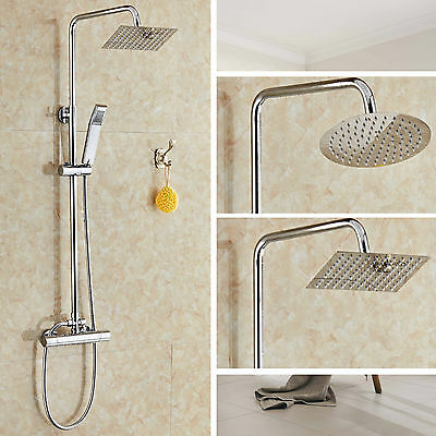 Modern Bathroom Mixer Shower Square Or Round Chrome Thermostatic Twin Head Set