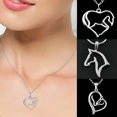 Mother Child Horse Love Heart Head Silver Tone Pendant Necklace Family Prom Gift
