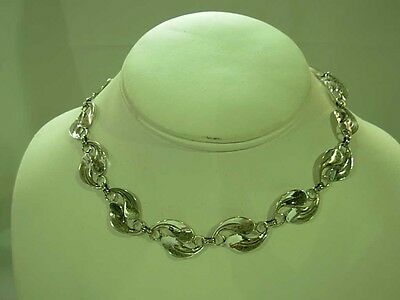 """Vintage 1950's Beau Sterling Silver Paisley Link 14.5"""" Choker Necklace ~Classic!"""