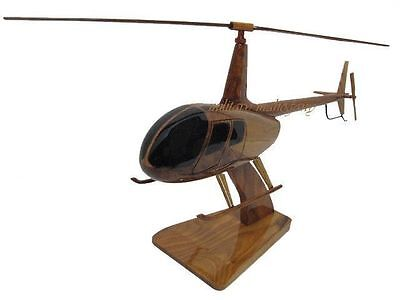 R44 R-44 Robinson 44 Private Pilot Mahogany Wood Wooden Helicopter Model New