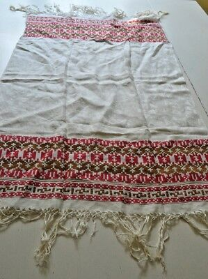 Stunning Vintage Art Deco Turkey Red Hand Woven Linen Damask Show Towel U23