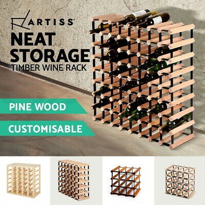 Timber Wine Rack Wooden Storage Organiser Stand 7 12 20 24 30 42 64 72 110Bottle