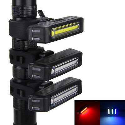 3 Color 100LM Rechargeable COB LED Rear front bicycle Bike light USB Taillight