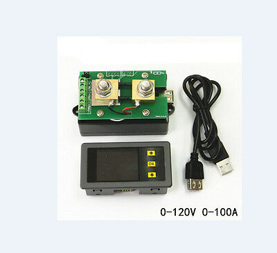 Wireless Voltmeter Ammeter Power Meter Capacity Coulomb Counter DC 120V 100A