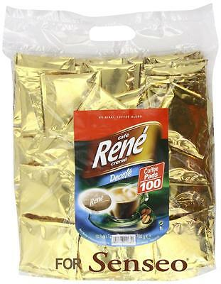 Philips Senseo 100 x Café Rene Crème Decaffeinated Coffee Pads Bags Pods